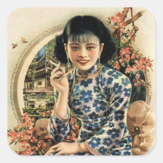Chica asiático del anuncio de los cigarrillos del pegatina cuadrada