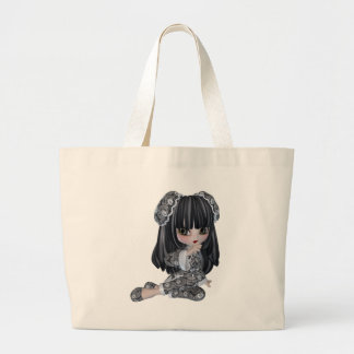 Chica asiático lindo bolsa tela grande