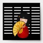 Chica asiático negro rojo retro del vintage de los