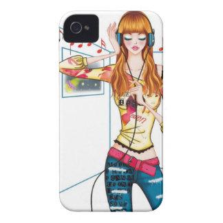 Chica atasc con los auriculares Case-Mate iPhone 4 fundas