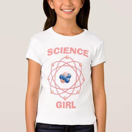 Chica atómico de la ciencia de las partículas playera