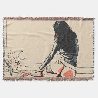 Chica atractivo con el tiro desnudo artístico del manta