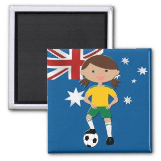 Chica australiano 4 del fútbol imán cuadrado