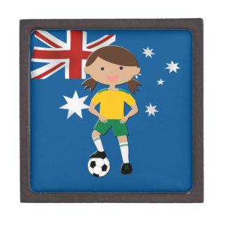 Chica australiano 4 del fútbol caja de recuerdo de calidad