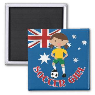 Chica australiano 4 v2 del fútbol imán cuadrado