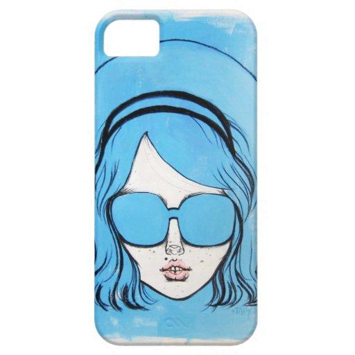 Chica azul 1 de los vidrios iPhone 5 Case-Mate funda