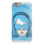 Chica azul 1 de los vidrios funda de iPhone 6 barely there