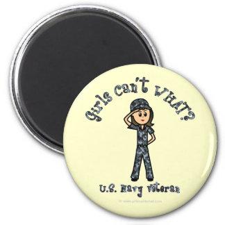 Chica azul claro del veterano de la marina de guer iman para frigorífico