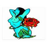 Chica azul de la fantasía con el tatuaje color de  postales