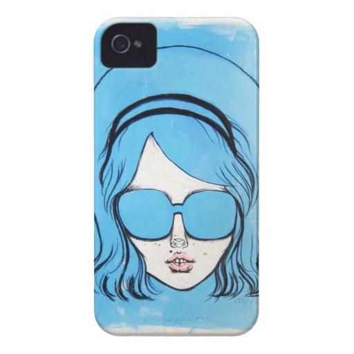 Chica azul de los vidrios para el iPhone 4/4S Funda Para iPhone 4
