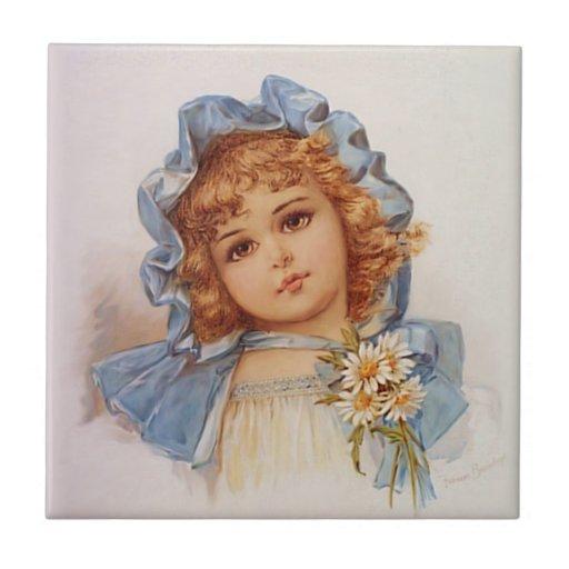 Chica azul del capo - Francisco Brundage Azulejo Cuadrado Pequeño