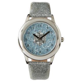 Chica azul del encanto del estilo del diamante reloj
