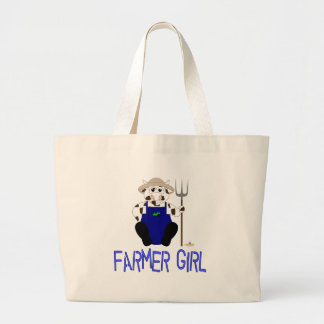 Chica azul del granjero de Brown y de la vaca blan Bolsa De Mano