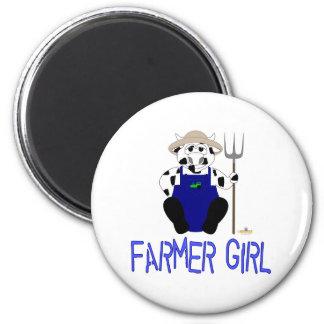 Chica azul del granjero de la vaca blanco y negro  iman