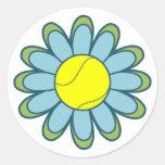 Chica azul del tenis pegatina redonda