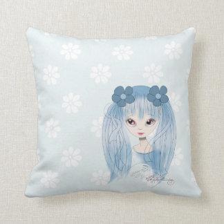 Chica azul dulce de Kawaii Cojin