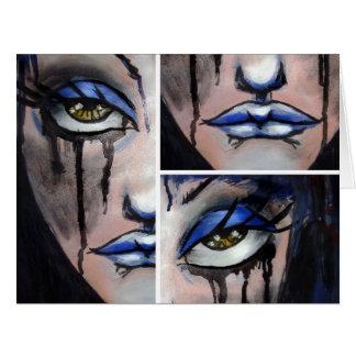 Chica azul tarjeton