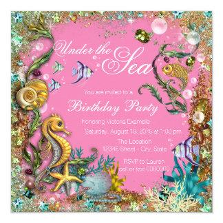 """Chica bajo fiesta de cumpleaños del mar invitación 5.25"""" x 5.25"""""""