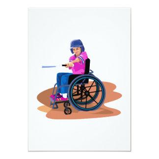Chica Ball.png de la silla de ruedas Invitación 12,7 X 17,8 Cm