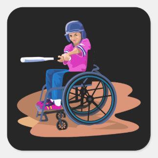 Chica Ball.png de la silla de ruedas Pegatina Cuadrada
