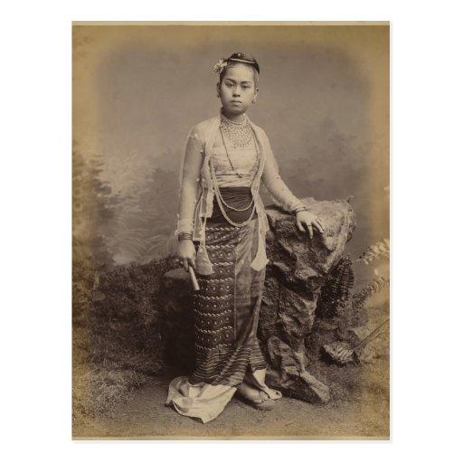 Chica birmano joven, c.1875 tarjetas postales