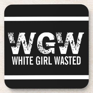 Chica blanco de WGW perdido Posavasos De Bebidas