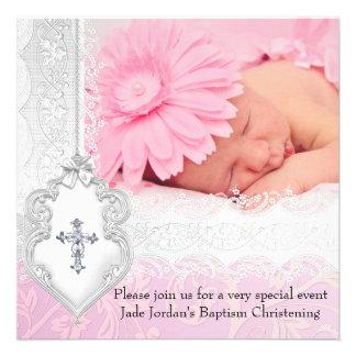 Chica blanco rosado de la cruz de la joya de la fo