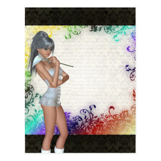 Chica bonito con el lirio postales