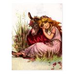 Chica bonito con el potro tarjetas postales