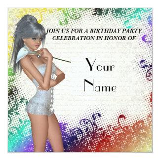 Chica bonito con la fiesta de cumpleaños del lirio comunicado personal