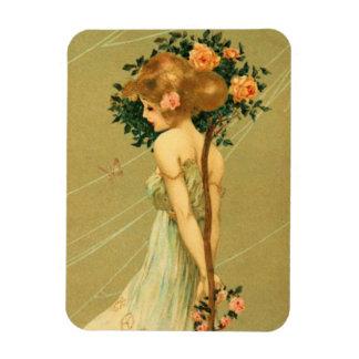 Chica bonito del vintage con los rosas y la maripo iman de vinilo