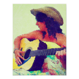 Chica bonito en gorra del país con la guitarra poster
