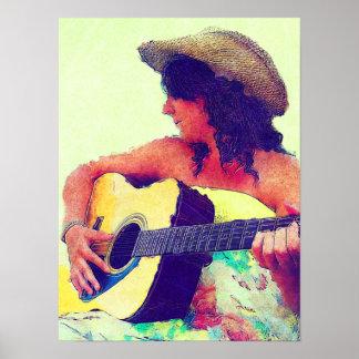 Chica bonito en gorra del país con la guitarra póster