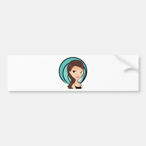 Chica bonito etiqueta de parachoque