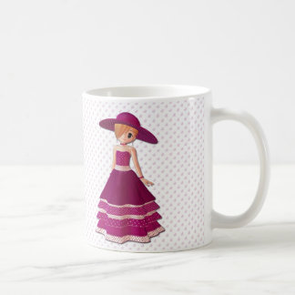 Chica bonito taza de café