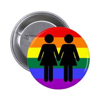 Chica + Botón del arco iris del chica Pin Redondo De 2 Pulgadas