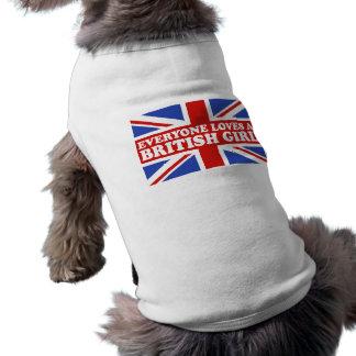 Chica británico camiseta de perro