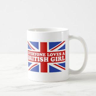 Chica británico tazas de café
