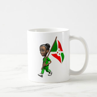 Chica burundés taza de café