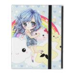 Chica cabelludo azul lindo con el arco iris y las  iPad cárcasa