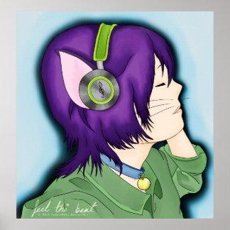 Chica cabelludo púrpura del gato con los auricular póster