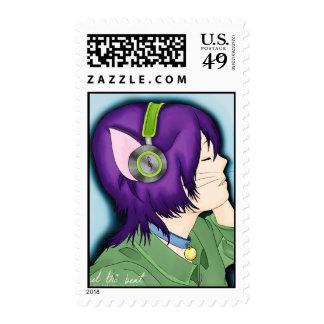 Chica cabelludo púrpura del gato con los sellos