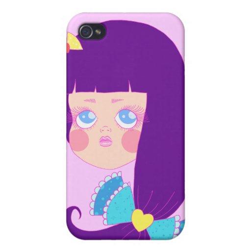 Chica cabelludo púrpura iPhone 4/4S fundas