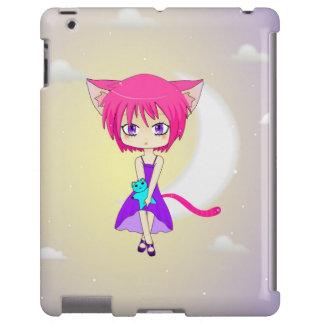 Chica cabelludo rosado del animado de Neko, caso Funda Para iPad