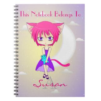 Chica cabelludo rosado del animado de Neko, Spiral Notebook