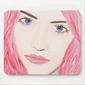 Chica cabelludo rosado hermoso, retrato del arte d alfombrilla de raton