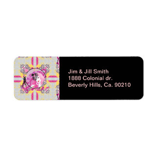 Chica cabelludo rosado retro con el Lollipop y las Etiqueta De Remitente