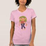 Chica cabelludo verde camiseta