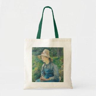 Chica campesino con un gorra de paja, 1881 bolsa