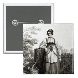 Chica campesino de Tirollian, 1817 Pin Cuadrada 5 Cm